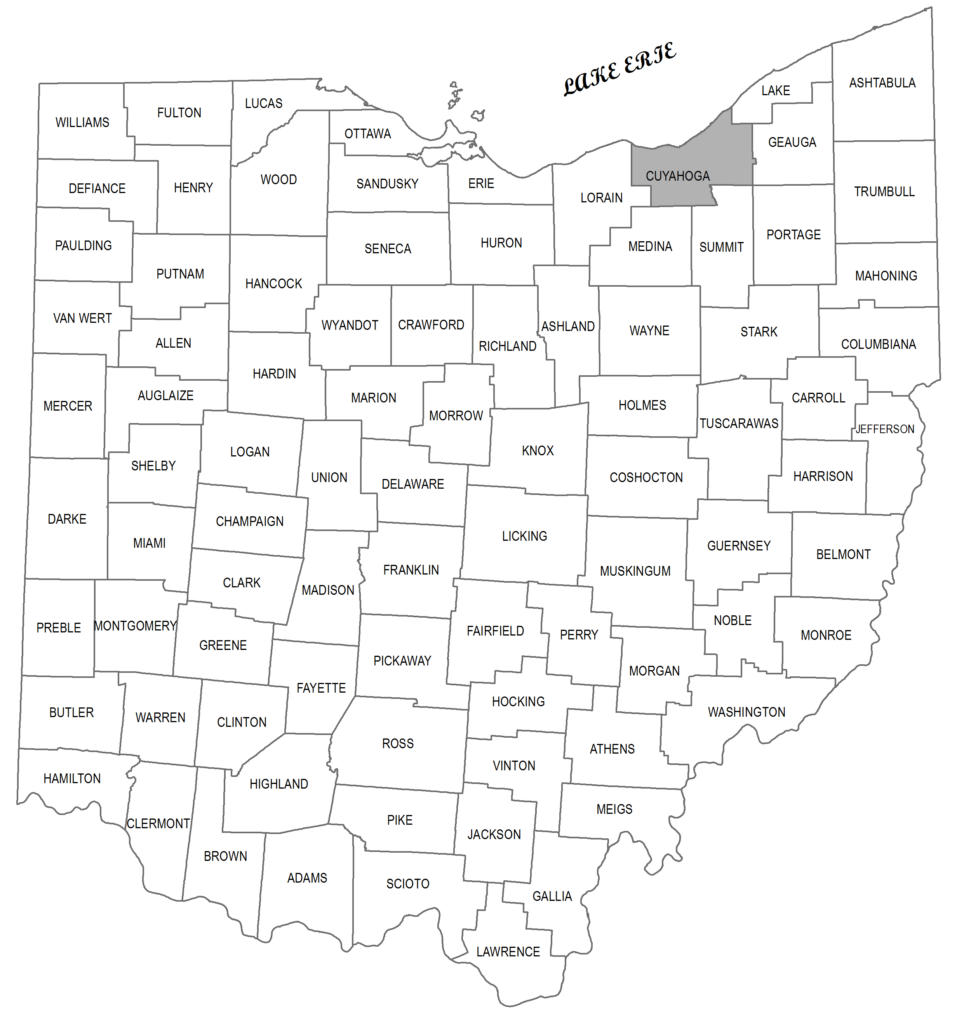 Map showing Cuyahoga County's location in Ohio